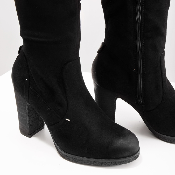 Ladies' black heeled high boots bata, black , 799-6614 - 14