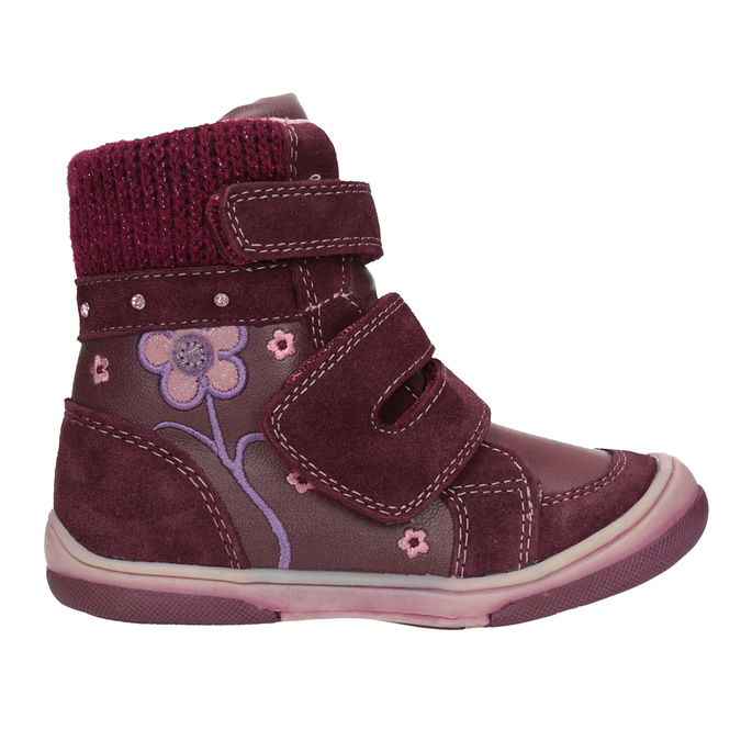 Children's leather winter boots bubblegummer, red , 124-5602 - 26