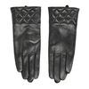 Ladies' black leather gloves, black , 904-6131 - 26