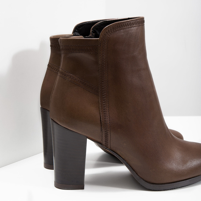Leather Ankle Boots bata, brown , 794-4650 - 14