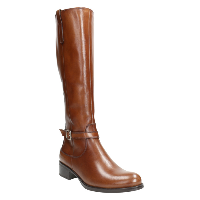 Brown Leather High Boots bata, brown , 596-4665 - 13