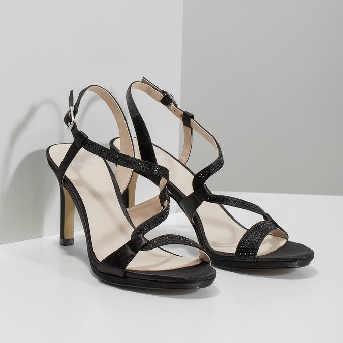 Ladies' party sandals with rhinestones bata, black , 729-6611 - 26