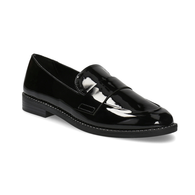 Ladies' patent moccasins bata, black , 511-6607 - 13