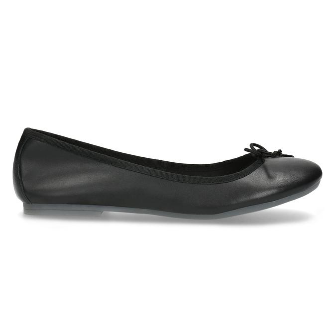 Leather ballerina shoes bata, black , 524-6144 - 19