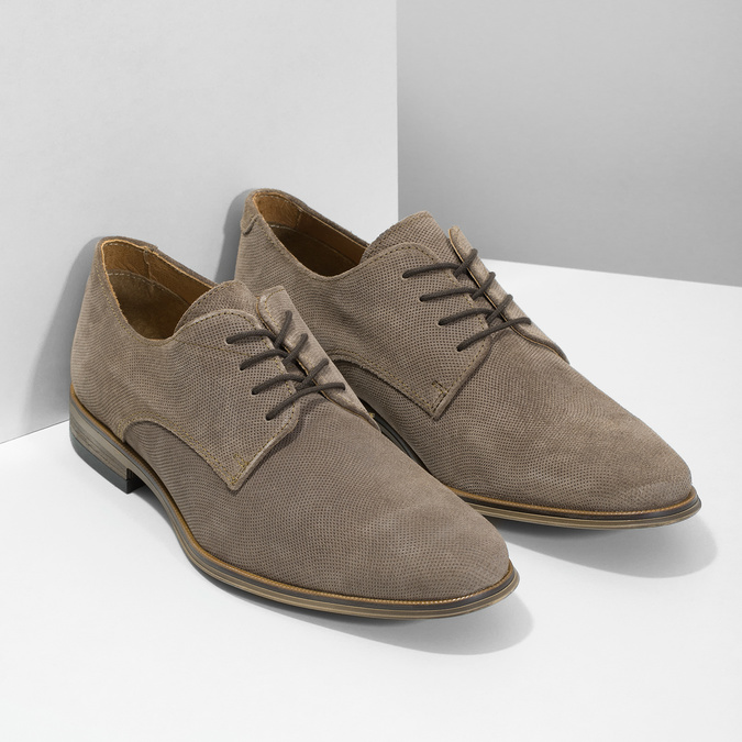 Men's Derby Shoes with Broguing bata, brown , 823-8616 - 26