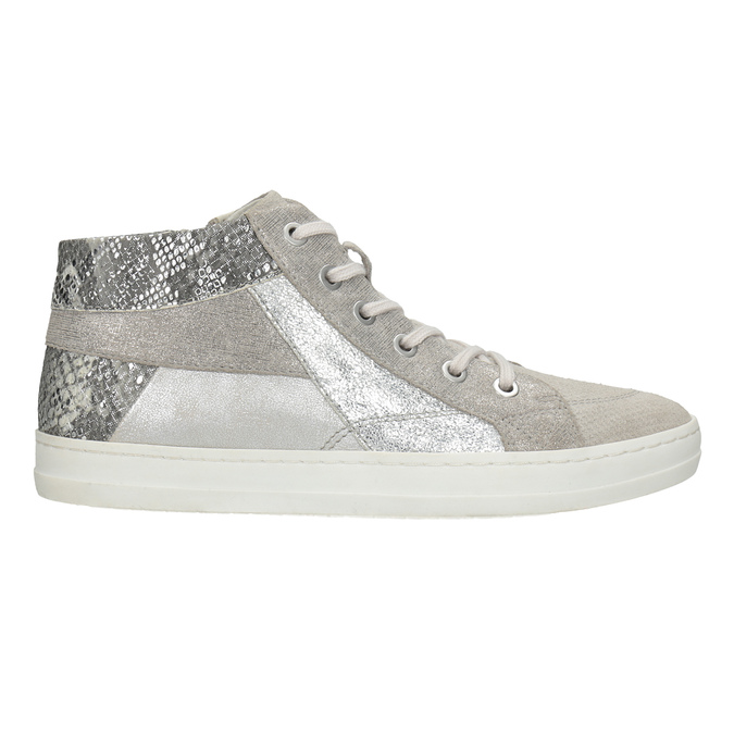 Leather high-top sneakers bata, gray , 546-2608 - 26