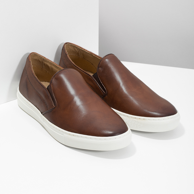 Men's Leather Slip-Ons bata, brown , 836-4601 - 26