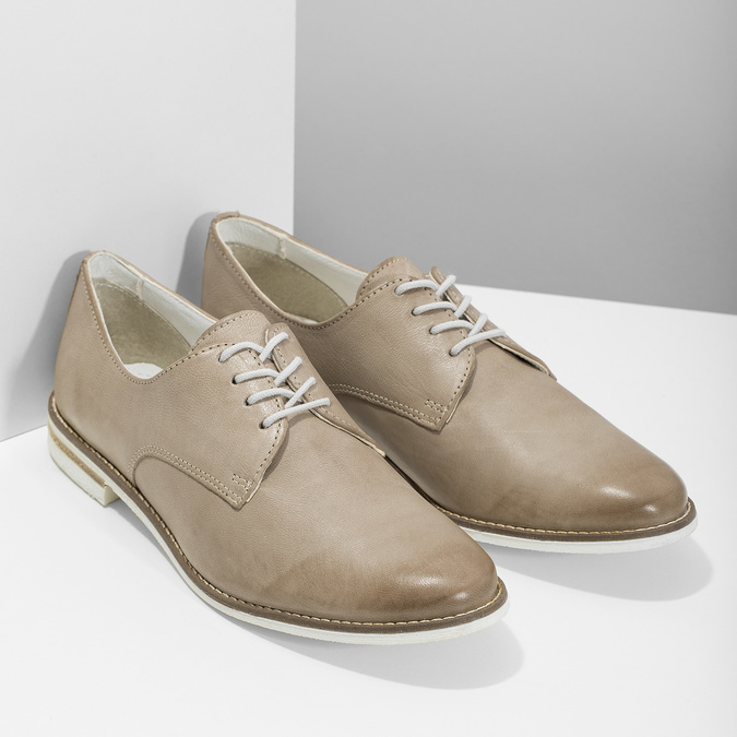 Ladies' leather shoes bata, beige , 526-8650 - 26