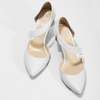 Pointed white pumps with an instep strap, white , 724-1904 - 16